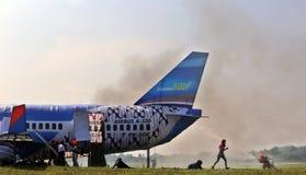 De behandelende simulatie van het vliegtuigenongeval Stock Afbeeldingen