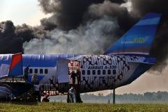 De behandelende simulatie van het vliegtuigenongeval Stock Foto's