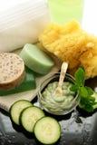 De behandeling van de komkommer mint spa royalty-vrije stock afbeelding