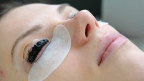 De behandeling van de schoonheid Het gezicht van de close-upvrouw ` s met verf op wimpers laminerende wimpers Zachte nadruk stock video