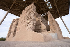 De behouden structuur van de ruïnes van de casa grande adobe royalty-vrije stock afbeelding
