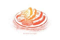 De Beierse worsten, gekookte braadworst, roosterden vlees met saus en zuurkool, restaurant, barmenu vector illustratie