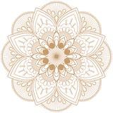 De beige bruine bloem van Mehndimandala in Indische hennastijl voor tatoo of kaart stock fotografie