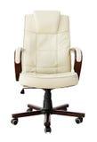 De beige stoel van het leerbureau met het knippen van weg Stock Afbeelding