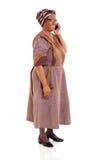 De bejaarde Afrikaanse telefoon van de vrouwencel Royalty-vrije Stock Afbeelding