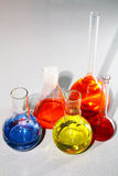 De bekers van het laboratorium met de gekleurde vloeistof Royalty-vrije Stock Fotografie