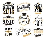 De bekledingen van graduatiewensen, geplaatste etiketten Retro gediplomeerde klasse van 2018 kentekens vector illustratie