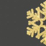 De bekledingsvoorwerp van de Kerstmis glanzend gouden sneeuwvlok Eps 10 vector illustratie