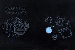 De beklemtoonde hersenen van de gedachtenkring naast vrees-als thema gehade pictogrammen stock illustratie