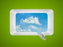 De bel van de toespraak als vensters waardoor de hemel zie Stock Foto