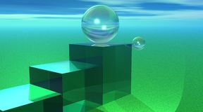 De bel van het glas bovenop groene treden Stock Foto's