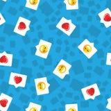 De bel van het patroonpraatje in mobiel bericht en sociaal netwerk Rood hart, als en glimlach op blauwe patroonachtergrond royalty-vrije illustratie