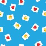 De bel van het PrintPatternpraatje in mobiel bericht en sociaal netwerk Rood hart, als en glimlach op blauwe patroonachtergrond vector illustratie