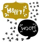 De Bel van de toespraak GELUKKIGE tekst Het pictogram van het pootteken De stappensymbool van hondhuisdieren Stock Foto's