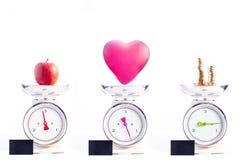 De belangrijkste dingen in het leven: gezondheid, liefde en geld Healt Stock Afbeeldingen