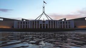 De belangrijkste ingang aan het Federale Parlement stock video