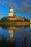 De belangrijkste toren van het slot in Vyborg Stock Afbeeldingen