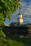 De belangrijkste toren van het slot in Vyborg Stock Afbeelding