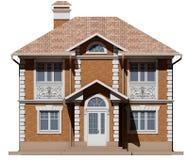 De belangrijkste voorgevel van het baksteenplattelandshuisje is symmetrie het 3d teruggeven vector illustratie