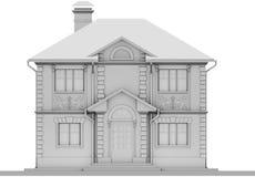 De belangrijkste voorgevel van het witte plattelandshuisje is symmetrie het 3d teruggeven vector illustratie