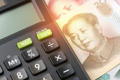 De belasting of het tarief van China beïnvloedt van handelsoorlog met de financiële V.S., stock foto