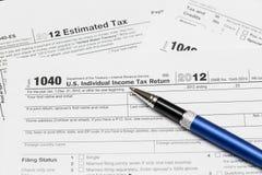 De belastingsvorm 1040 van de V.S. voor jaar 2012 Stock Afbeelding