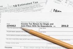 De belastingsvorm 1040ez van de V.S. voor jaar 2012 Stock Afbeelding