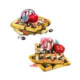 De Belgische wafels met muntbladeren, aardbeien en roomijsballen worden gegoten met aardbei en chocoladestroop Hand Royalty-vrije Stock Afbeelding