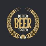 De Beloning Logo On Dark Background van het bieretiket Stock Foto's