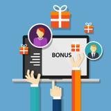 De beloning van de bonuswerknemer komt ten goede bevorderings aan aanbieding Stock Afbeelding