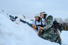 De bemanning van het Wehrmachtmachinegeweer Stock Foto