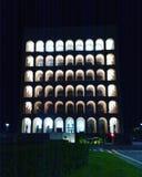 De benchmark van Rome EUR iconische de bouwnightphotography royalty-vrije stock afbeelding