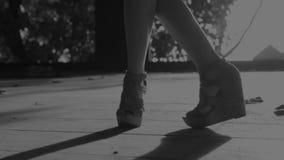 De benen van de close-upvrouw ` s het dansen stock videobeelden