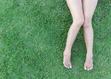 De benen van de close-upvrouw op grasachtergrond royalty-vrije stock afbeelding