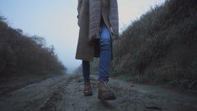 De benen van een meisje gaan op een landweg in het hout stock video