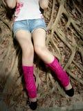 De benen van het meisje met sokken royalty-vrije stock foto's