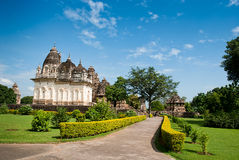 De berömda templen av Khajuraho är en stor grupp av medeltida högt Arkivfoto