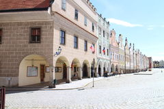De berömda 16 thårhundradehusen på den huvudsakliga fyrkanten i TelÄ  Royaltyfri Fotografi