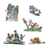 De berömda utforskarna i Afrika stock illustrationer