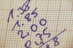 De berekeningen van de hand Stock Afbeeldingen