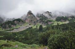 De berg bereikt Nevel een hoogtepunt stock foto