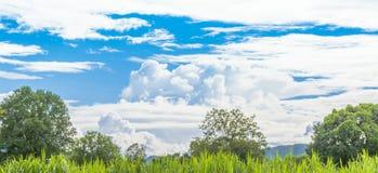 De berg en de blauwe hemel royalty-vrije stock afbeelding