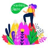 De berg roept Gekleurd meisje op piek vector illustratie