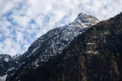 De berg van alpen met bewolkte achtergrond Stock Fotografie