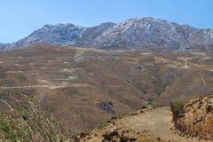 De berg van Asterousia bij het eiland van Kreta in Griekenland Stock Afbeelding