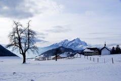 De berg van Burgenstock in de winter royalty-vrije stock foto