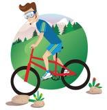 De berg van de mens het biking Royalty-vrije Stock Foto's