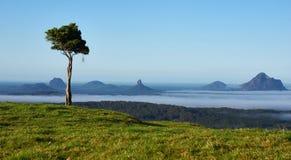 De Berg van het glashuis door mist wordt omringd die royalty-vrije stock foto
