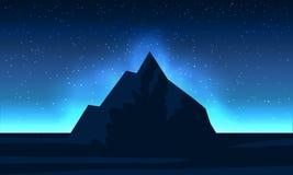 De berg van het nachtlandschap met ster en dageraad stock illustratie