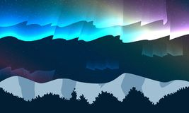 De berg van het nachtlandschap met ster en kleurrijke dageraad stock illustratie